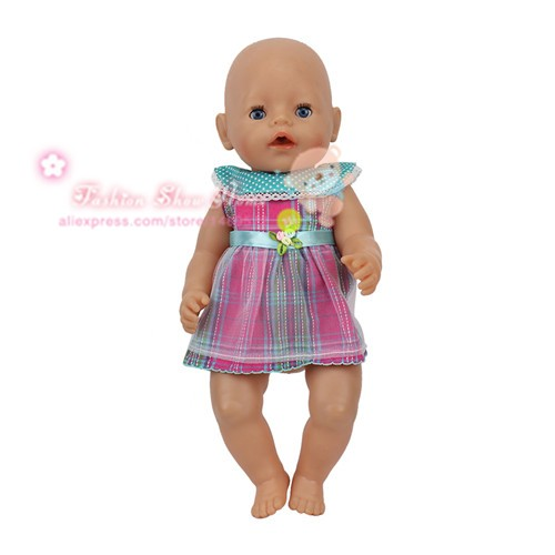 short color dress Wear fit 43cm Baby Born zapf,  Children best  Birthday Gift(only sell clothes)