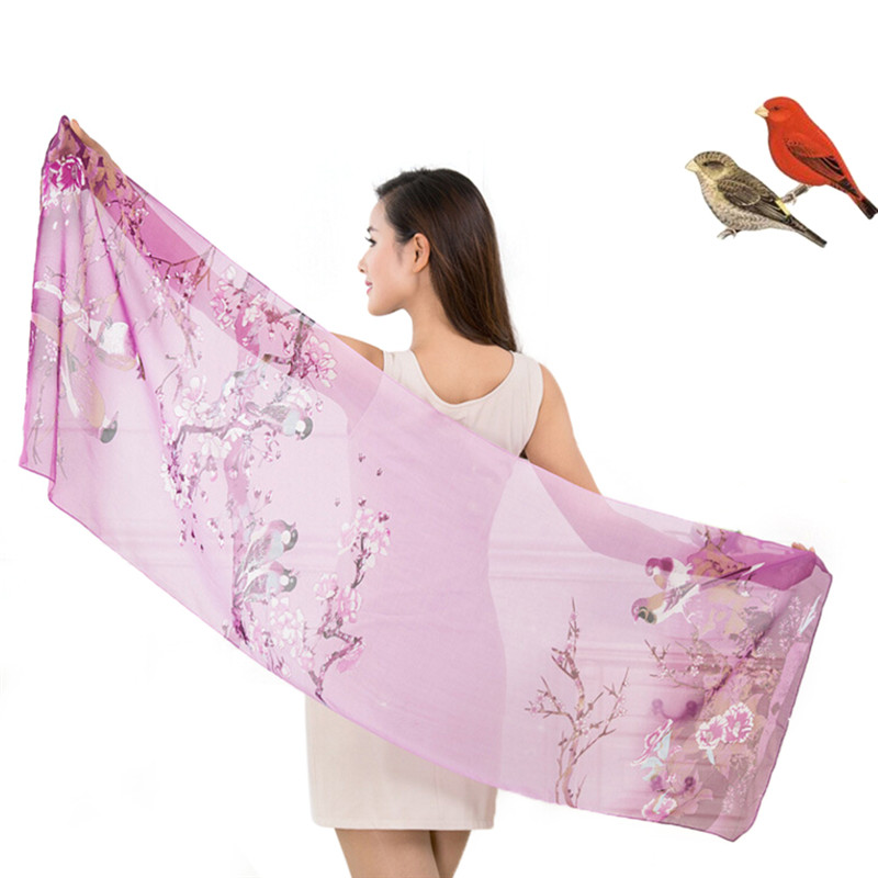 Women Soft Thin Chiffon Silk   Scarf   Animal Bird printed   Scarves     Wrap   Shawl Swimsuit Cloak mujer Foulard stoles Beach Silk   scarf