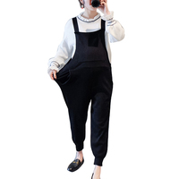 Pregnant Women Knit Jumpsuit Rompers Korean Casual   Maternity   Plus Size Bib Pants Overalls Spring Solid Black Trousers Pregnancy