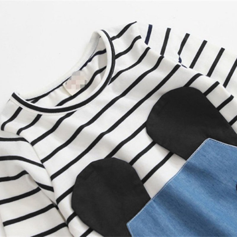 Hot Striped Patchwork Character Girl Dresses Long Sleeve Cute Mouse Children Clothing Kids Girls Dress Denim Kids Clothe s y13 in Dresses from Mother Kids