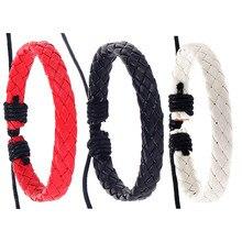 Black White Red Leather Braided Bracelets Bangles for Women Men DIY Handmade Best Friendship Jewelry