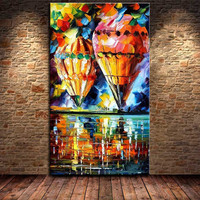 Handmade Abstract Knife Canvas Scenery Paintings Modern Home Wall Art Pictures Hand painted Fire Balloon Landscape Oil Painting