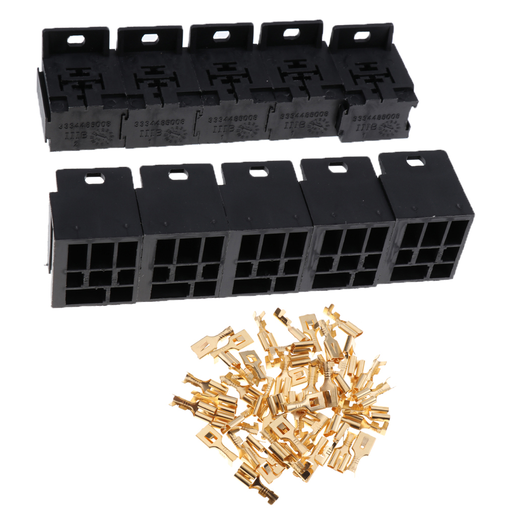 20 Pieces Automotive 5 Pin Relay Socket Holders With 63mm Copper Prong Pigtail Terminals