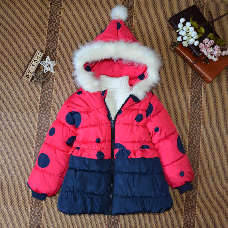 Fashion Warm Coat Girls Winter Clothes Children Parkas Outerwear Kids Cotton Padded Coat Fur Hooded Down Jacket For Girl TZ110 russia 2016 children outerwear baby girl winter wadded jacket girl warm thickening parkas kids fashion cotton padded coat jacket