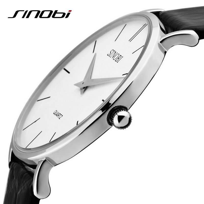 SINOBI Super Slim Quartz Wristwatch Males Business Genuine Leather Casual Quartz Watches Men and Women's 2017 Clocks Relojes