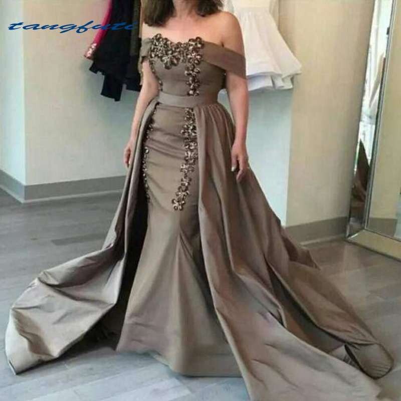 Sirène mère robes robes de soirée formelles épaule dénudée ceintures Appliques robes détachables mère de la mariée