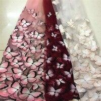 חצר 1 פרח רקמת פרפר גזה פאייטים תחרה שמלת שמלת בובת בד דקורטיבי אביזרי ספת בד בד מעיל