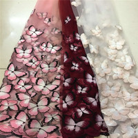 1 Cour Fleur Papillon Broderie Gaze Paillettes Dentelle Tissu Canapé Accessoires Décoration Poupée De Tissu Robe Robe Manteau Tissu