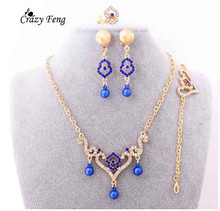Trenddy Gold Color Women Statement Necklace Earring Bracelet Ring Set Crystal Red Indian Costume Necklace Wedding Jewelry Sets(China)