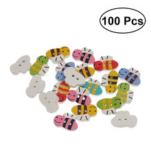 100 Pcs Creative Cute Chic Wooden Bee Buttons Sewing Buttons for Wedding Kids Scrapbooking DIY Craft Decoration(China)