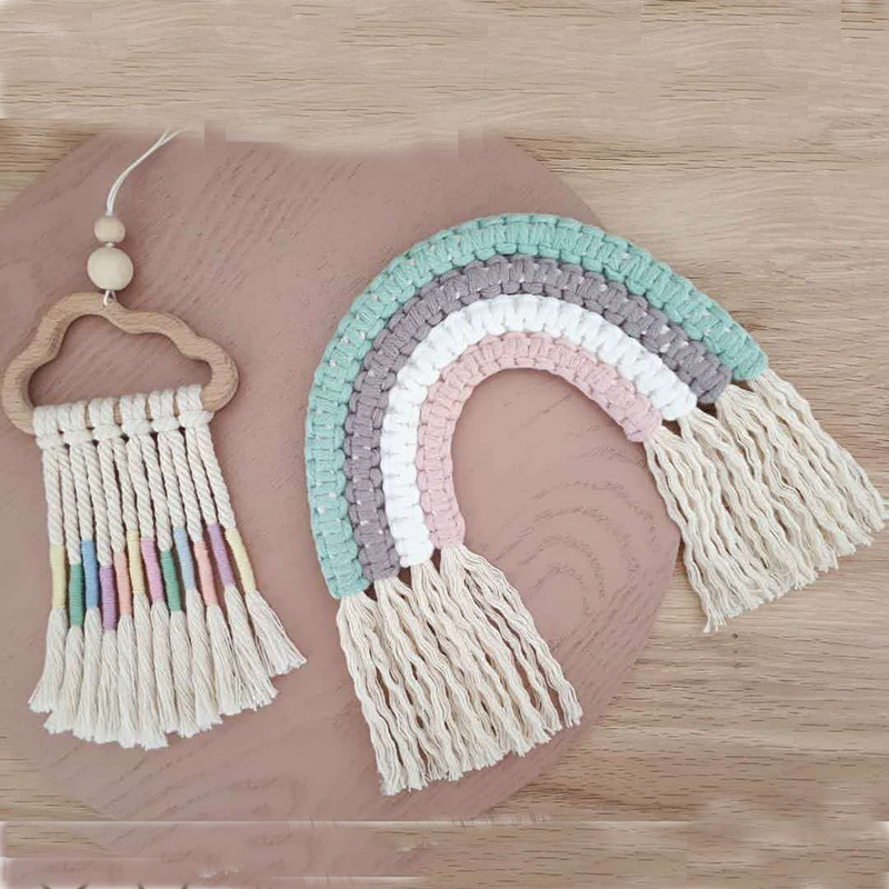 INS Nordic Woven Rainbow Tassel Tapestry Children's Room Decoration Wall Hanging Ornaments Wind Chimes Kids Gifts Photo Props