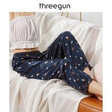 Женские Пижамные брюки THREEGUN, хлопок, для сна, дышащие, свободные, с оборками, для женщин, с принтом, с эластичной талией, домашние штаны