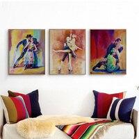 אדון 3 יחידות מודרניות מין ילדה רקדנית ריקוד חינני ציור קיר מופשט אמנות קיר לסלון בית תפאורה מתנה תמונה