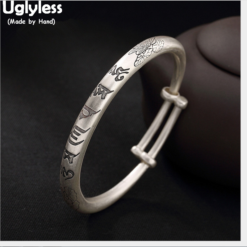 Uglyless 100% Real Solid 999 Fine Silver Buddhism Bangles for Women Handmade Lotus Push-pull Bracelets Six-word Religious BangleUglyless 100% Real Solid 999 Fine Silver Buddhism Bangles for Women Handmade Lotus Push-pull Bracelets Six-word Religious Bangle