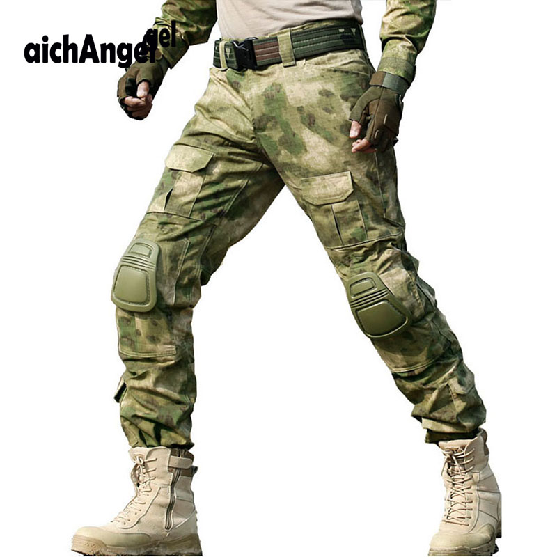 Military Tactical Pant Camouflage Cargo Pant Pants Men SWAT Working Pantalon Army Hunter Combat CS Combat Trousers & Knee Pads