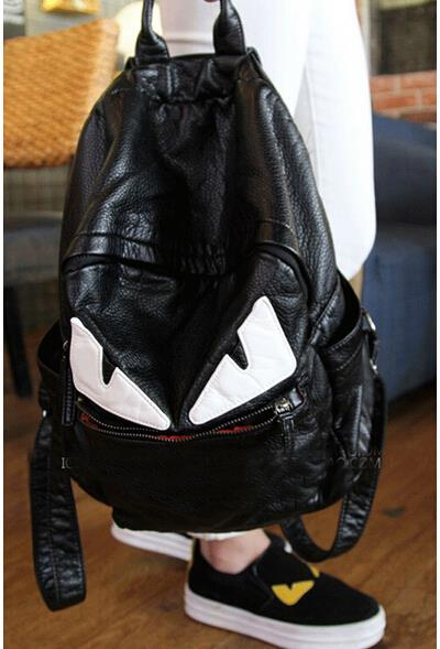 ФОТО new 2015 personality school backpacks fashionista PU backpack mochila retro schoolbag travel duffle bag Monster backpack