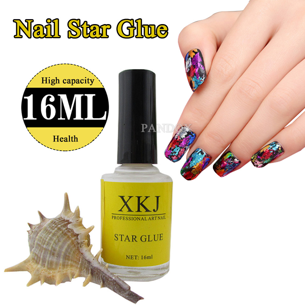 16ml Nail Art White Glue Foils Transfer Tips Adhesive Star Polish Gel Uv Decoration Sticker Accessory Manicure Tool Diy