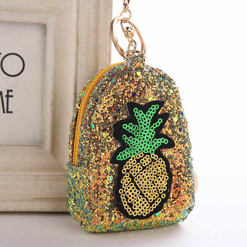 Cute Pineapple Keychain Glitter Pompom Sequins Key Ring Gifts Llaveros  Mujer Charms Bag Accessories Key Chain d6bc409ccc13