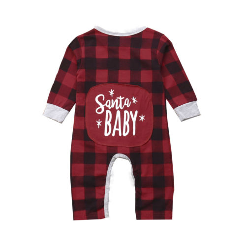 Baby Santa Romper Jumpsuit Pajamas Long Sleeve Plaid Cute Party Outfits Christmas Infant Baby Kids Girls Boy Clothing 0-24M baby girls butterfly long sleeve romper newborn kids 2017 new arrival button jumpsuit outfits clothing for newborns age 3m 3y