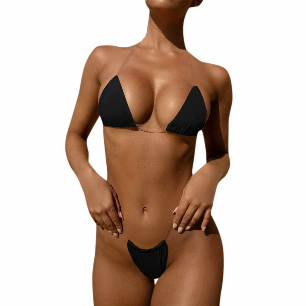 Women's Swimming Suit Sexy Bikini Swimsuit 2019 Women Pure color Tube up Two Pieces Bikini Push-Up Swimsuit Swimwear Beachwear