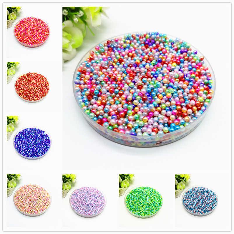 Perles sans trou 500 pièces 3mm couleur arc-en-ciel perles rondes ABS perles d'imitation perles en vrac collier de bijoux à bricoler soi-même pour les femmes