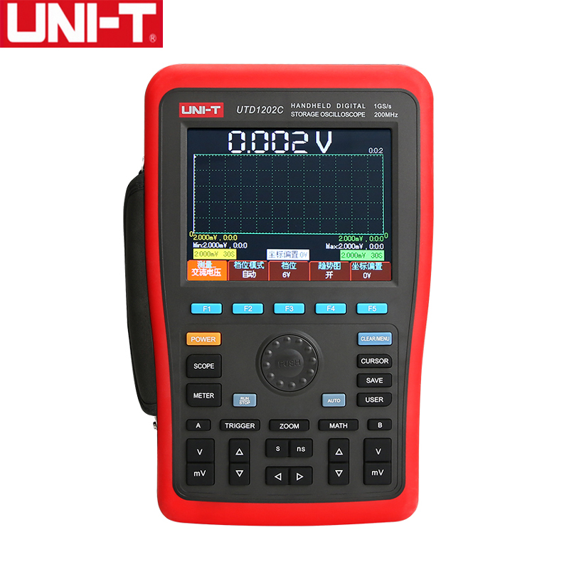 UNI-T UTD1202C Dual Channel 200 MHz 1GS/s 7.5 kpts Handheld Digital Storage Oscilloscope Oscillograph Recarregável