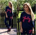 2016 Autumn Spring Women Sportwear Sets O-neck Pullover Letter Print Loose Off Shoulder Tracksuit Cotton Casual Two Piece Sets