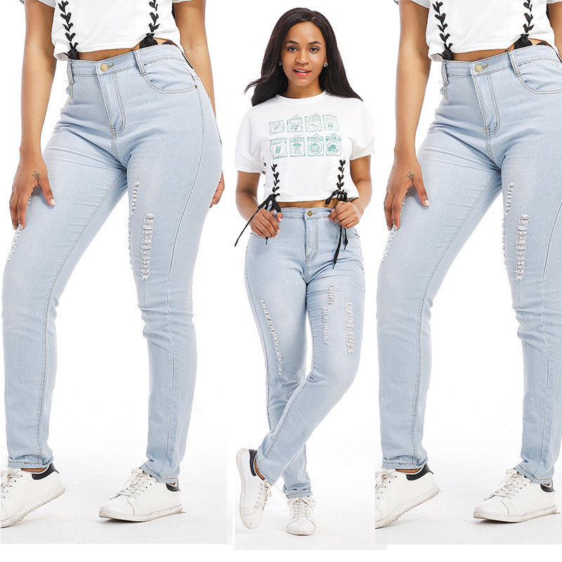 Hot Style Women Denim Skinny Ripped Pants High Waist Stretch Jeans Long Pencil Trousers Washed Blue Color M L XL XXL