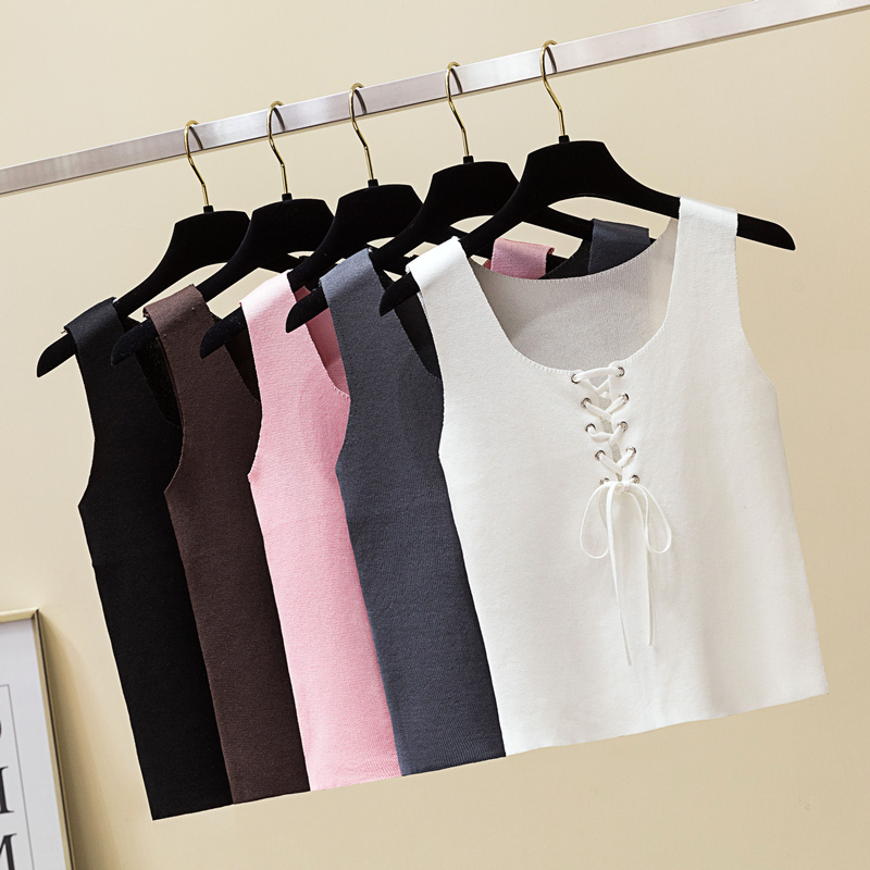 T-Shirt Tank-Tops Hollow-Out Vest Bandage Crop Knit O-Neck Side-Lace-Up Summer Sexy Women