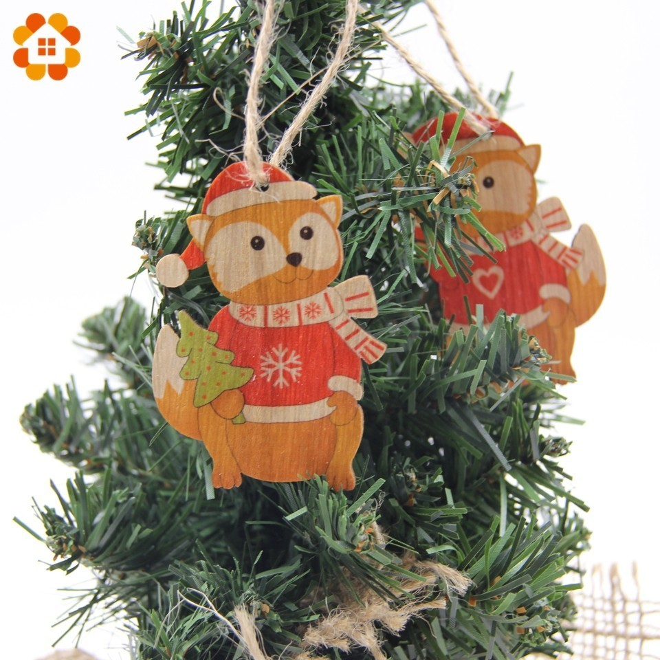 9PCS Lot Lovely Squirrel Angel Wood Craft Wooden Pendants Ornaments DIY Christmas Tree Decorations Party Favors Kids Gift Toys in Pendant Drop Ornaments from Home Garden