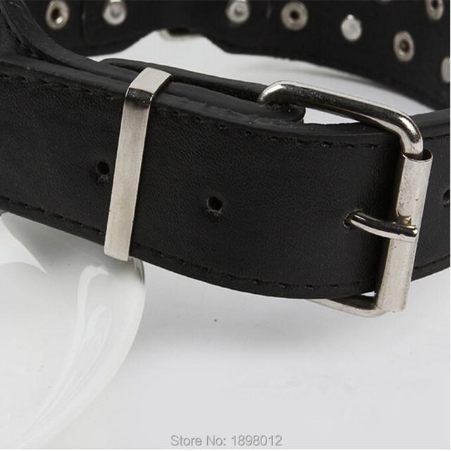 Promotion Large Dog Collar Black Leather Dog Collars With Rhinestone For Golden retrievers mastiffs samoyeds German shepherd