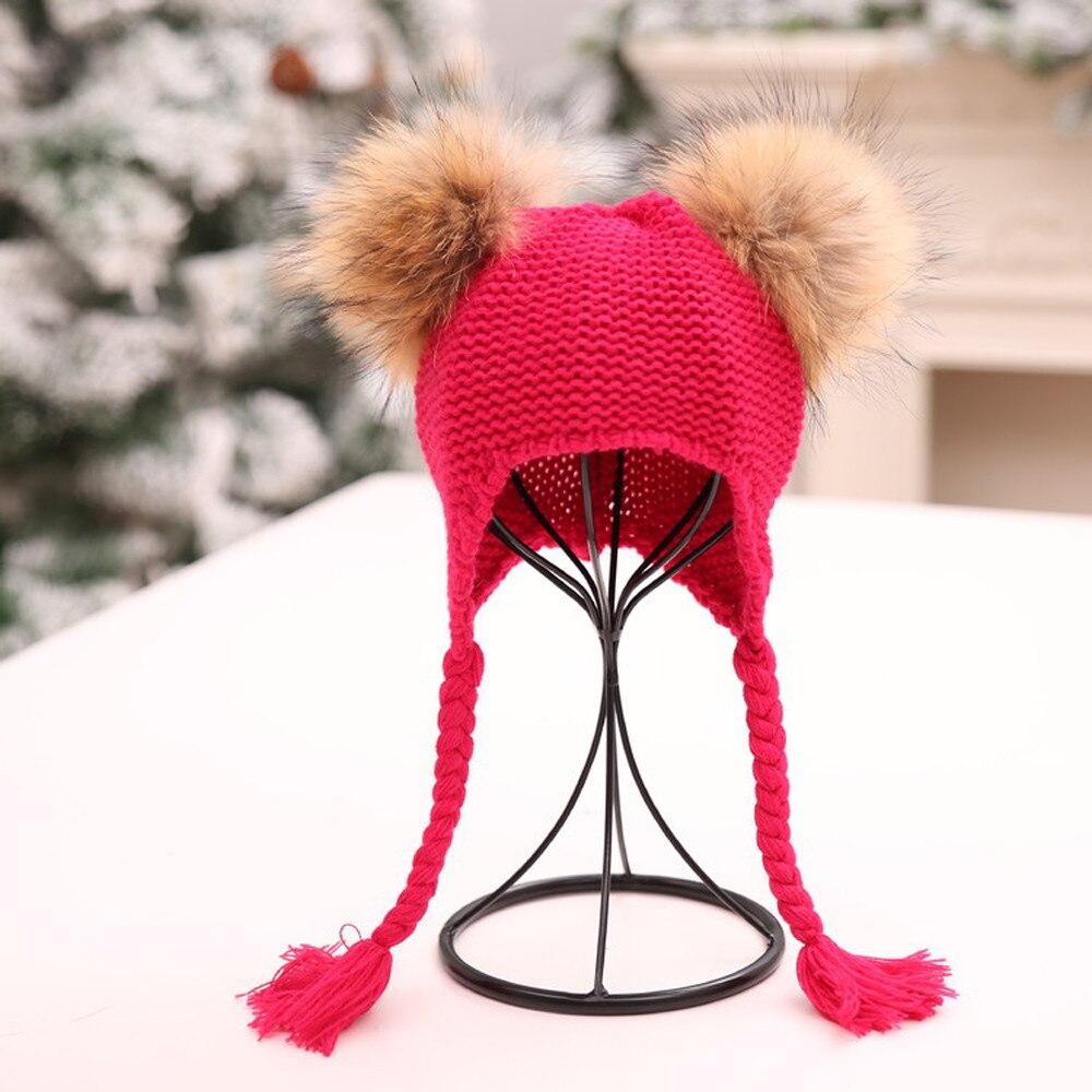 Children Baggy Warm Crochet Winter Wool Knit Ski Beanie Skull Slouchy Twist Hat Gorros Mujer Invierno 2018 New