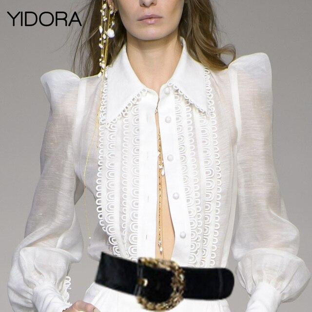7e9c753f Silk & Linen Blend White Golden Doily Blouse Top - Golden Doily Shirt  Semi-sheer Blouse Shirt With Front Button & Eyelet Trim