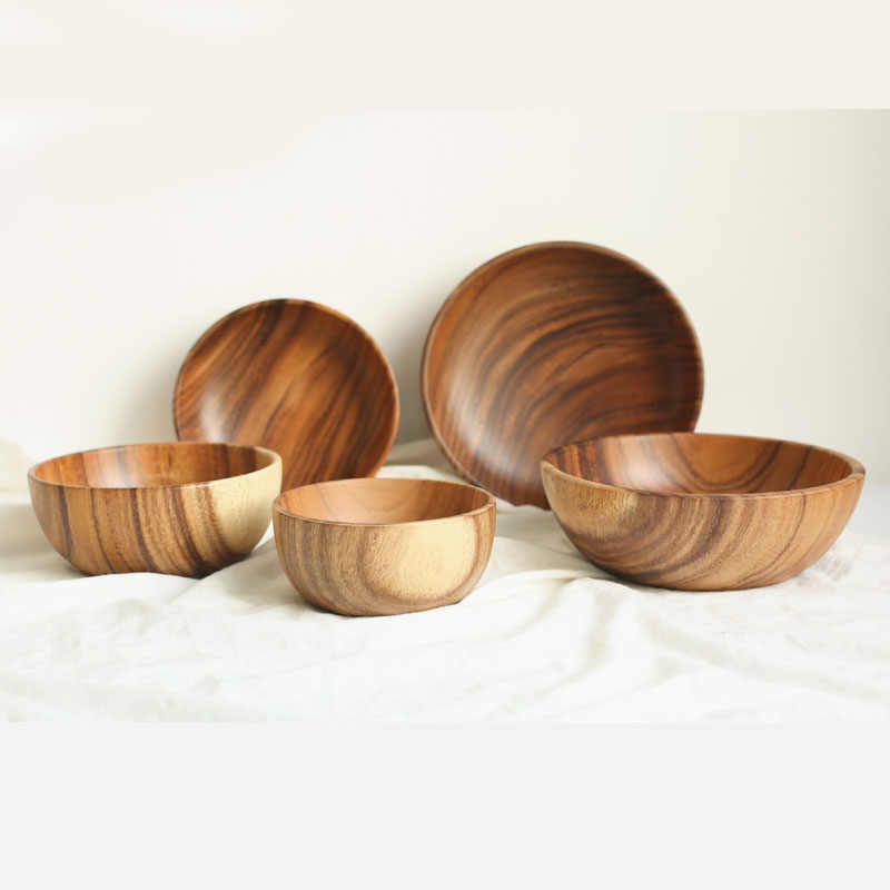 Whole wood solid wood bowl European flat bottom durable crack control Salad Noodle soup Cooking bowl