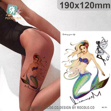 Beautiful Waterproof Temporary Tattoos For Lady Women 3D Mermaid Fairy Design Large Tattoo Sticker MC2721