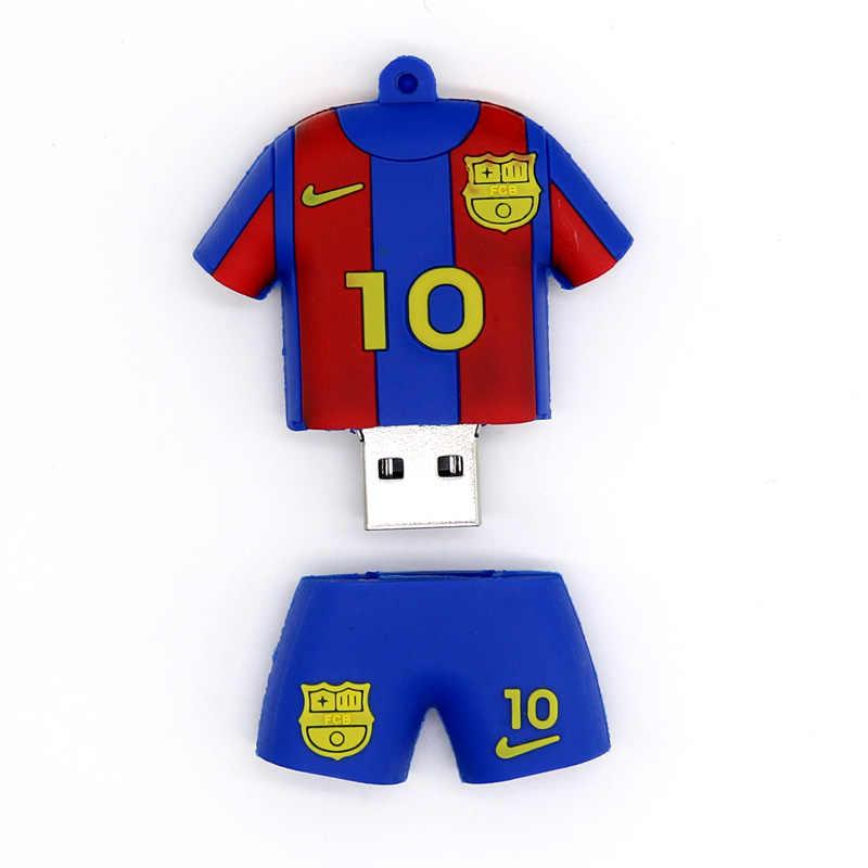 Unidad de pluma 4 GB 8 GB 16 GB 32 GB 64 GB Messi camiseta de fútbol USB 2,0 memoria Flash memoria flash USB Stick regalo MINI