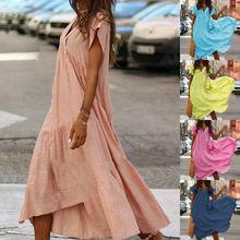 Boho Women Summer Dress Holiday Pure Color Maxi Short Sleeve V-neck Long Casual Loose Shirt S-XL