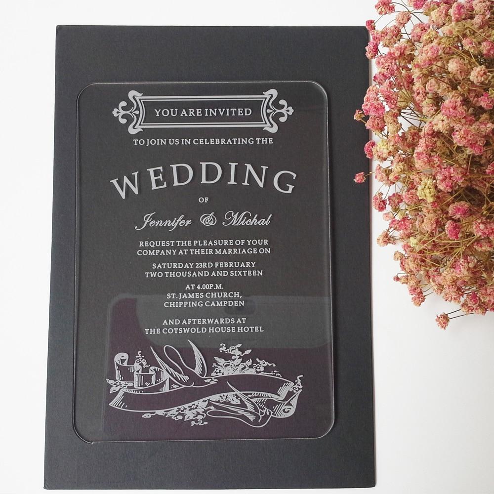 100ks na jeden kus polykat 5 * 7 palců obdélník tvar laserové rytí dopisy jasné akrylové svatební pozvánky