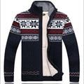 2016 New Thicken Fleece Sweater 100% Cotton Fur Lining Zip Sweaters Men Floral Pattern Cardigan Blusa Masculina Men's Clothing