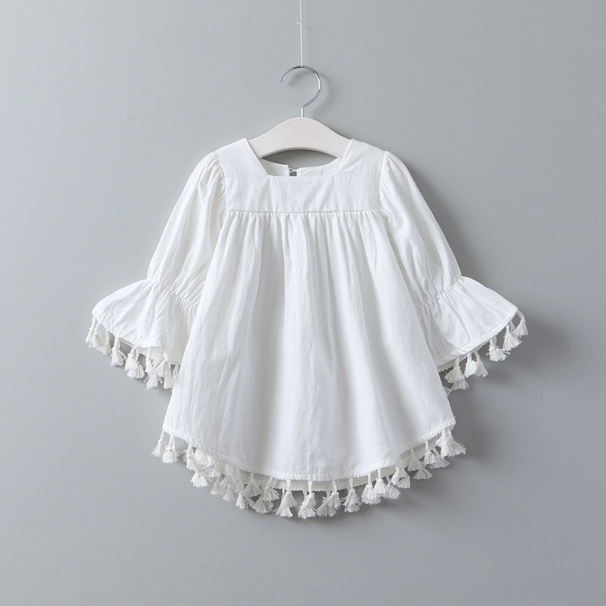 bae515270361a BOHO Kids Spring Tassel Blouses Cute White Flare Sleeve Tops Cute England  Style Children Tops Wholesale Kids Clothes -in Blouses from Mother & Kids