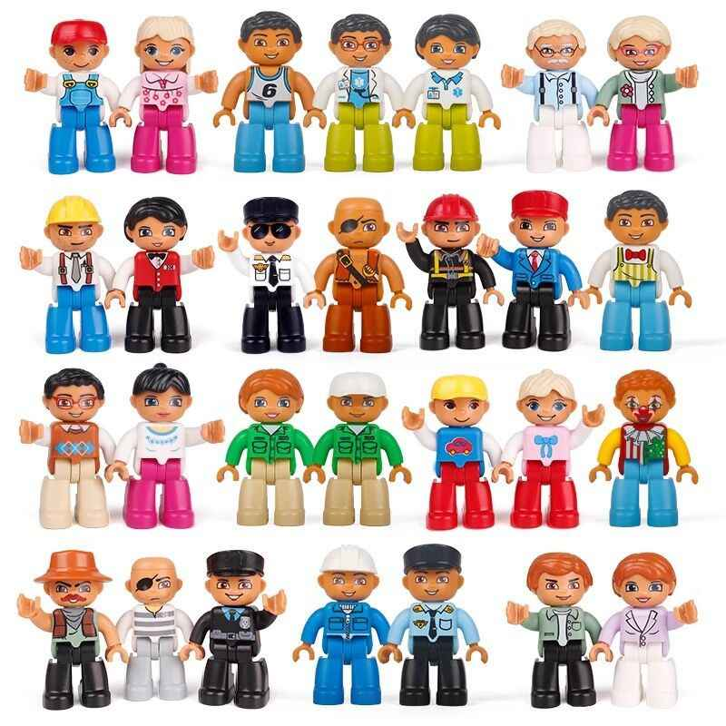 Legoing Cities Duploe Big Size Family Worker Police Bricks Action Figures Building Blocks Toys friends for girls Legoings Duploe