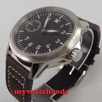 45mm corgeut black dial luminous marks 6497 hand winding mens watch C90