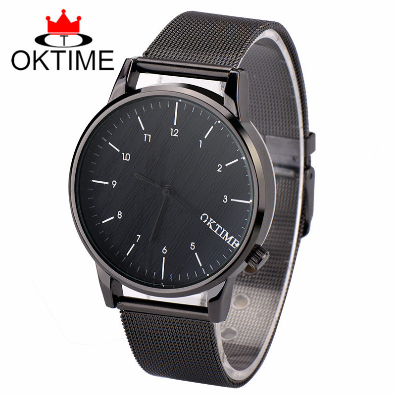 Fashion Watch Top Brand OKTIME Luxury Watches Men Stainless Steel Strap Quartz Watch Ultra Thin Dial Clock Man Relogio Masculino fashion simple style top luxury brand longbo watches men stainless steel wristwatches quartz watch big gold dial clock man watch