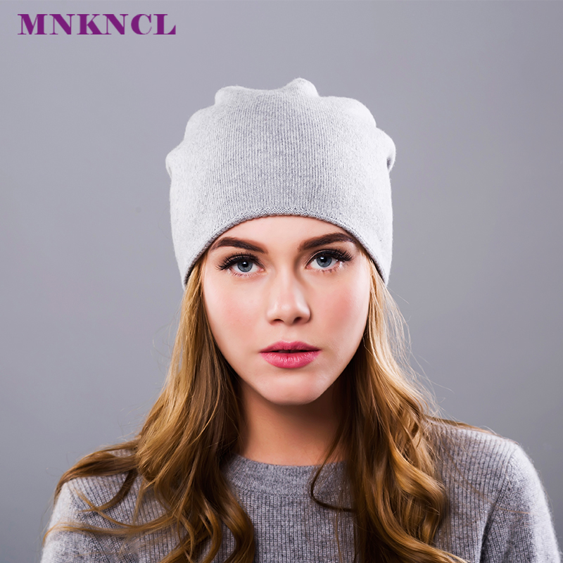 MNKNCL 2017 New Hot Sale Women'S Hats Knitted Wool Autumn Winter Casual High Quality Brand Hat Female Skullies Beanies 2016 new autumn winter womens wool fedora hat wide brim cowboy panama jazz hats