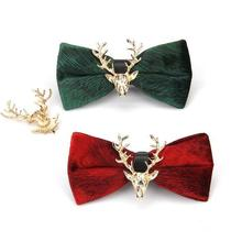 Stylish Golden Deer Green Bow Tie Fashion Lovely  Personality Butterfly Men Bowties For Ball stylish stars and stripes pattern bow tie for men