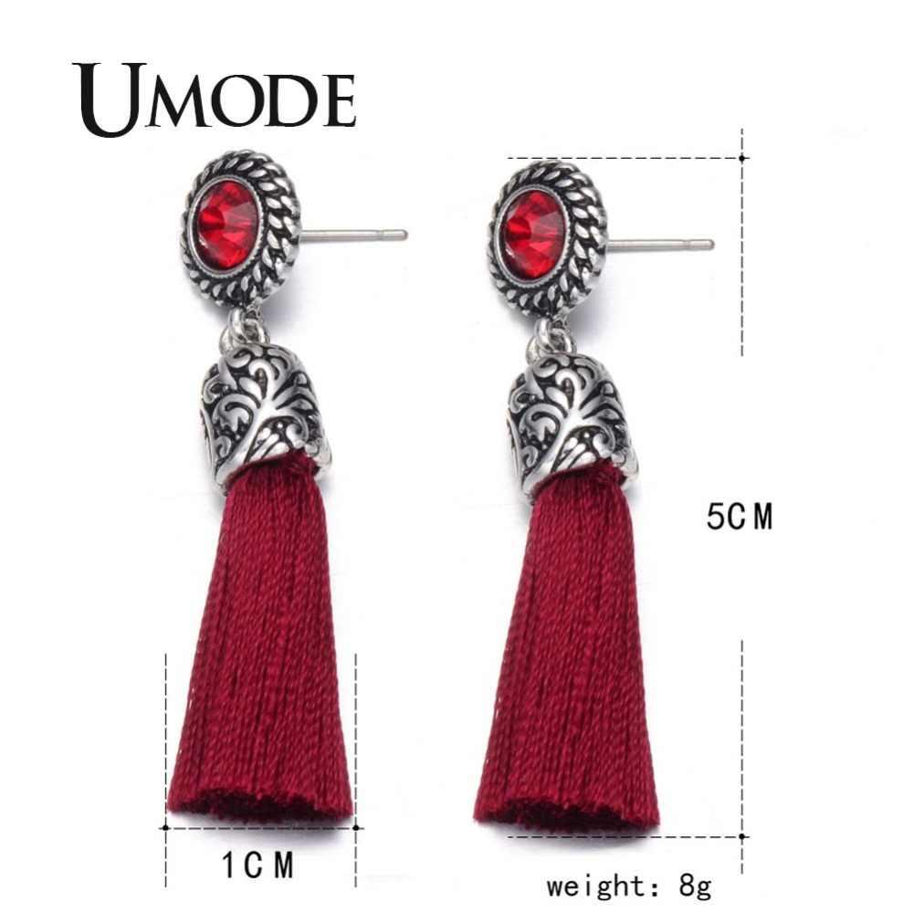 UMODE новый резной дизайн анти-из сплава серебряного цвета Длинная лента подвеска кисточка длинные висячие серьги новые этнические ювелирные изделия для женщин PE0273