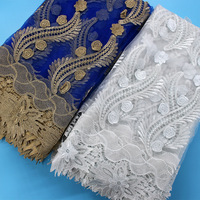 White African Fabric High Quality French Lace Fabric Royal Blue 3d Embroidery Designs Nigerian Lace For