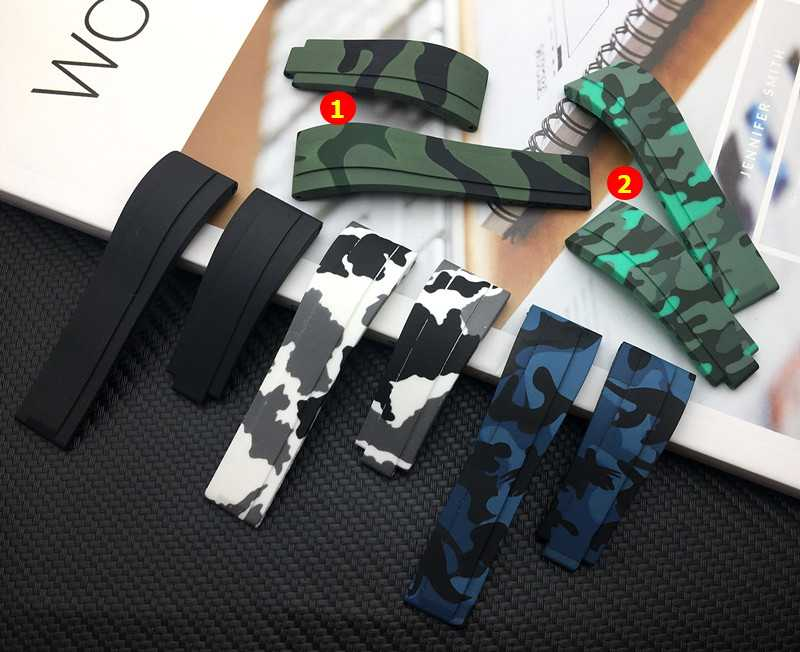 Quality Brand 20MM Camo Blue black White Green Rubber Watchband Watch band For Role strap Daytona Submariner GMT belt Bracelet