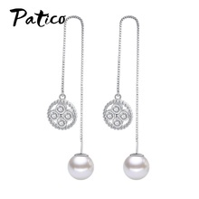 цена на New Arrival Imitation Pearls Cubic Zirconia Tassle Dangle Drop Earrings For Women 925 Sterling Silver Piercing Daily Ear Rings