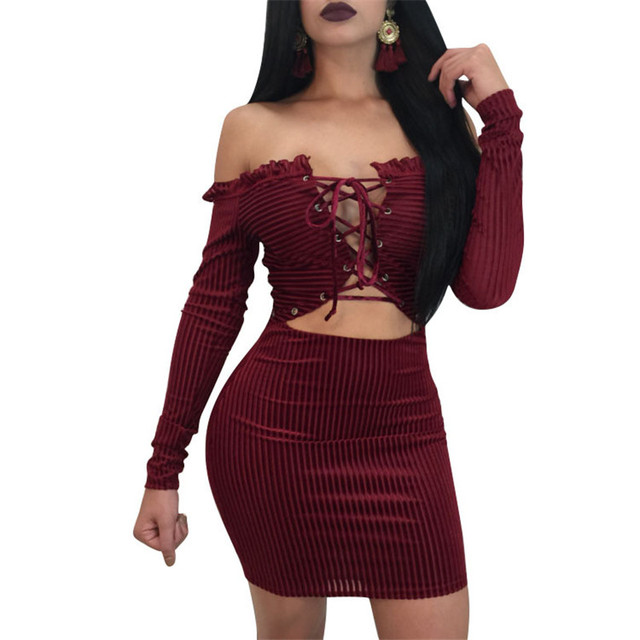 914e09135896 Sexy Eyelets Lace-up Nightclub Dress Solid Black Wine Red Women s Off  Shoulder Long Sleeve High Stretch Stripe Slim Mini Dress